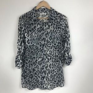 OLD NAVY | M TALL Leopard Print Sheer Button Down